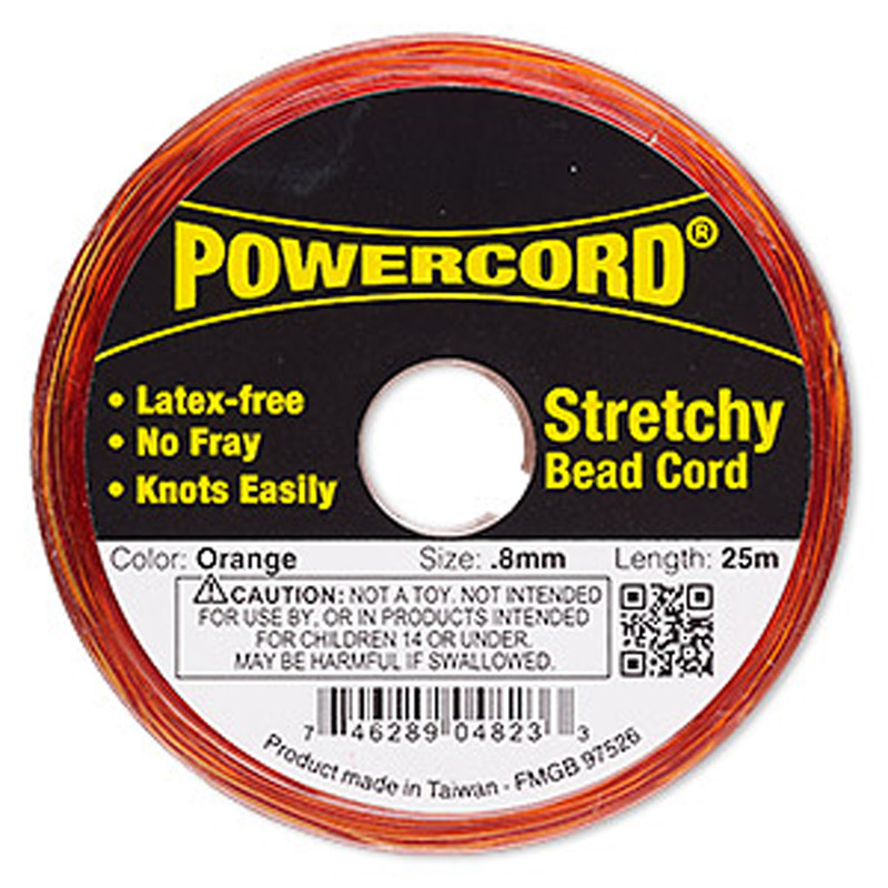 Powercord® Elastic Stretch Cord Orange 0.8mm 8.5-lb Test 25-Meter Latex-Free H20-1698BS