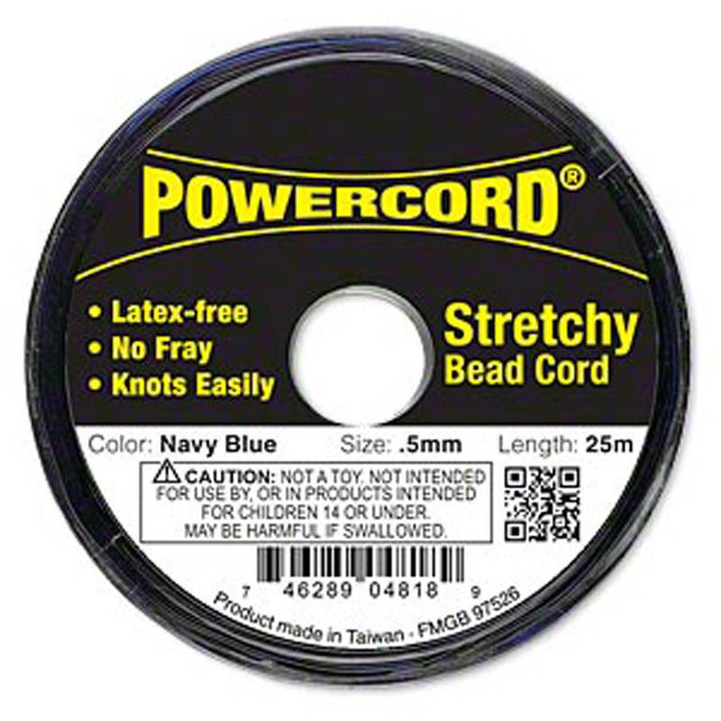 Powercord® Elastic Stretch Cord Navy Blue 0.5mm 4-lb Test 25-Meter Latex-Free H20-1693BS