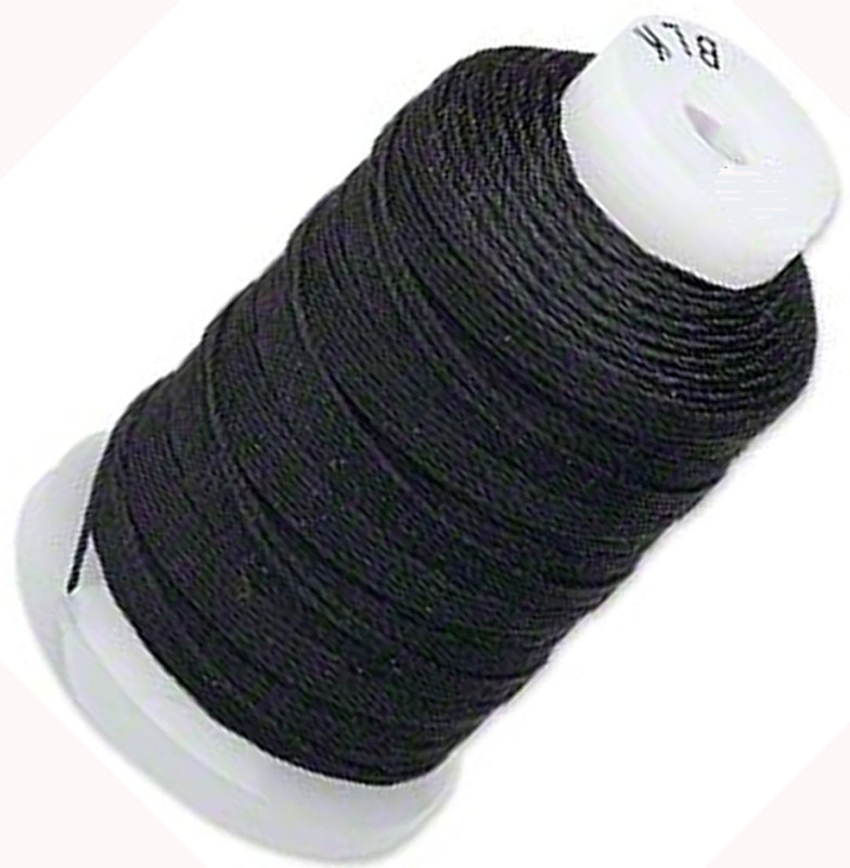 Silk Beading Thread Cord Size FF Black 0.015 Inch 0.38mm Spool 115 Yd 5219BS