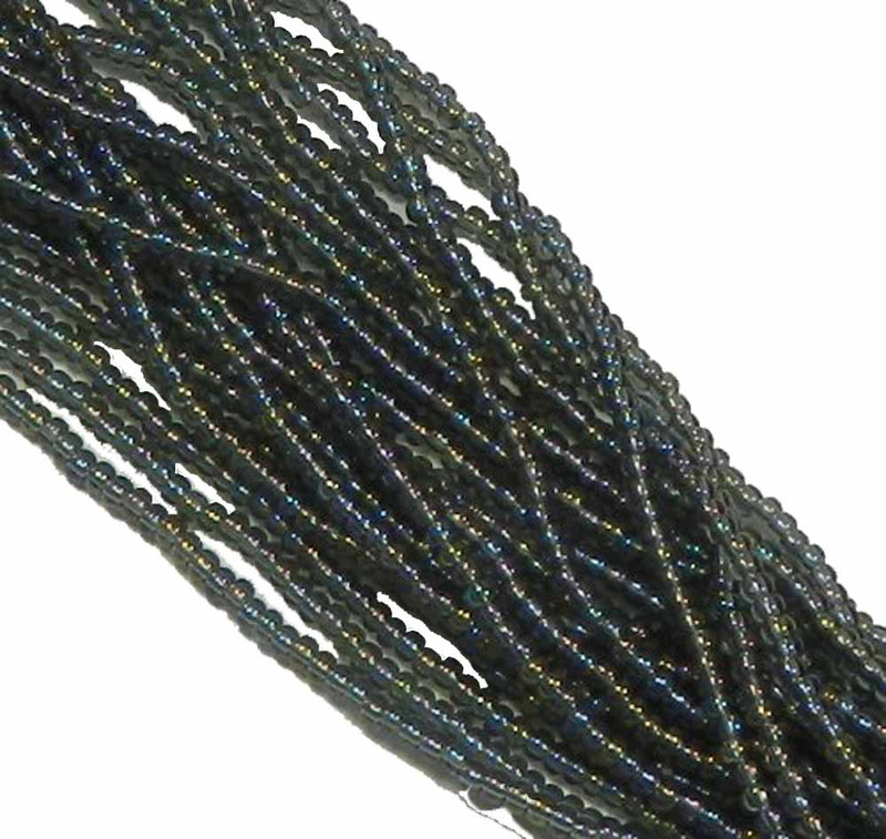 Black Diamond (Smoke) Ab Czech 8/0 Glass Seed Beads 12 Strand Hank Preciosa SB8-41010
