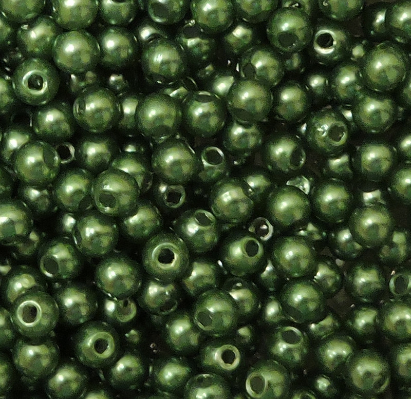 Green 8mm Acrylic Round Beads Pearl Coated bags approx 80 beads G108G