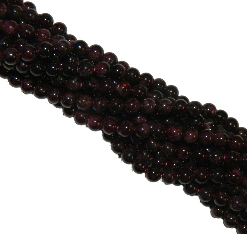 4mm Garnet Gemstone Round beads 15 Inch Loose Strand B2-M101