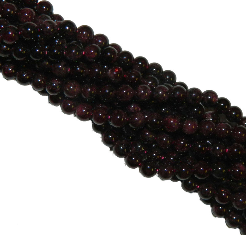 6mm Garnet Gemstone Round beads 15 Inch Loose Strand B2-M102