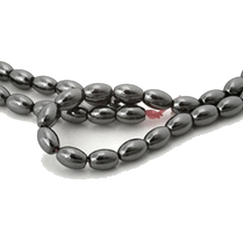 4x6mm Hematite Manmade Oval Beads 15 inch Loose Srand B2-H4