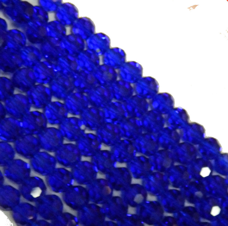 "Blue Transparent 4mm Faceted Round Beads 13"" Strand Glass Crystal Beads B2-uc4a14"