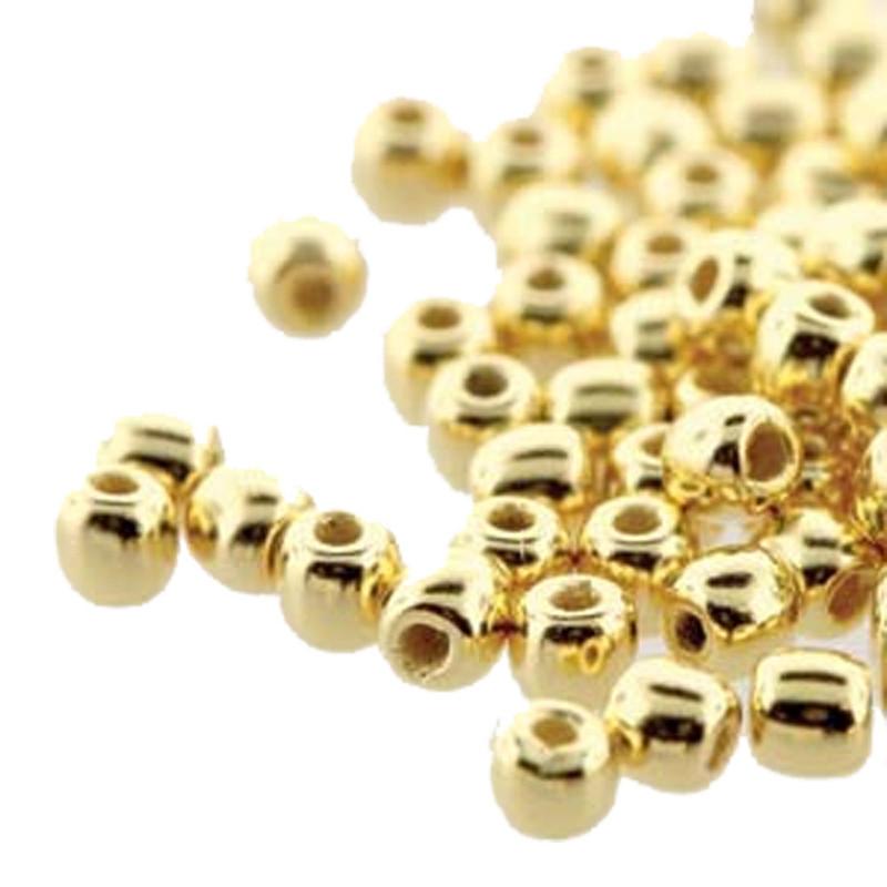 Round Druk True2s 2mm Czech Glass 24K Gold Plate 600 Beads-Loose DK0200030-GP
