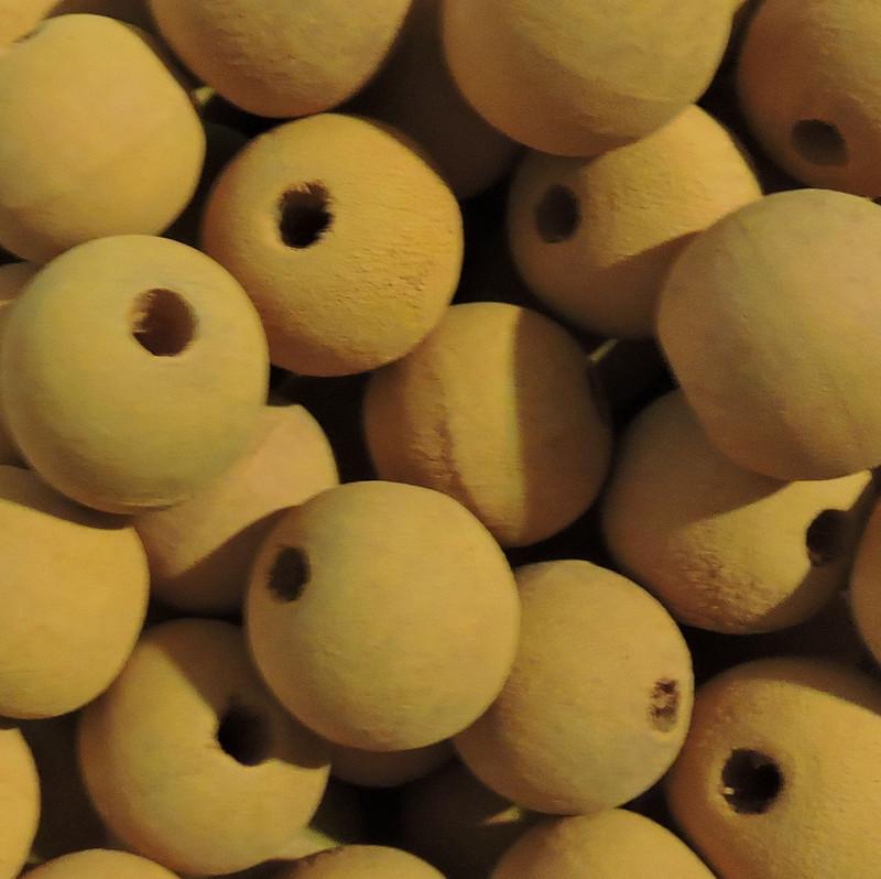 48 Yellow 20mm Macrame Large 5mm Hole Barrel Rose Wood Beads BA-W428-YELLOW