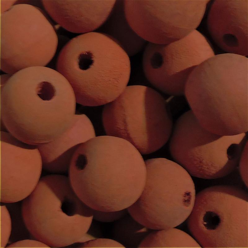 6 Orange 20mm Macrame Large 5mm Hole Barrel Rose Wood Beads AC-W428-ORANGE