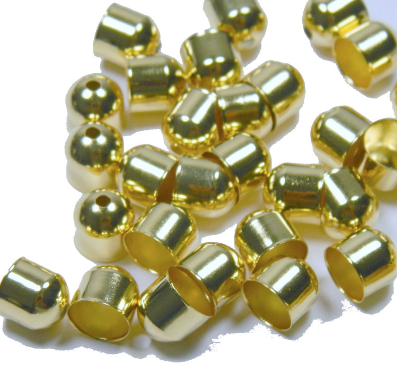 10 Cord Tips/caps Gold-plated Brass 8x8mm Outside Diameter AC-2216FN