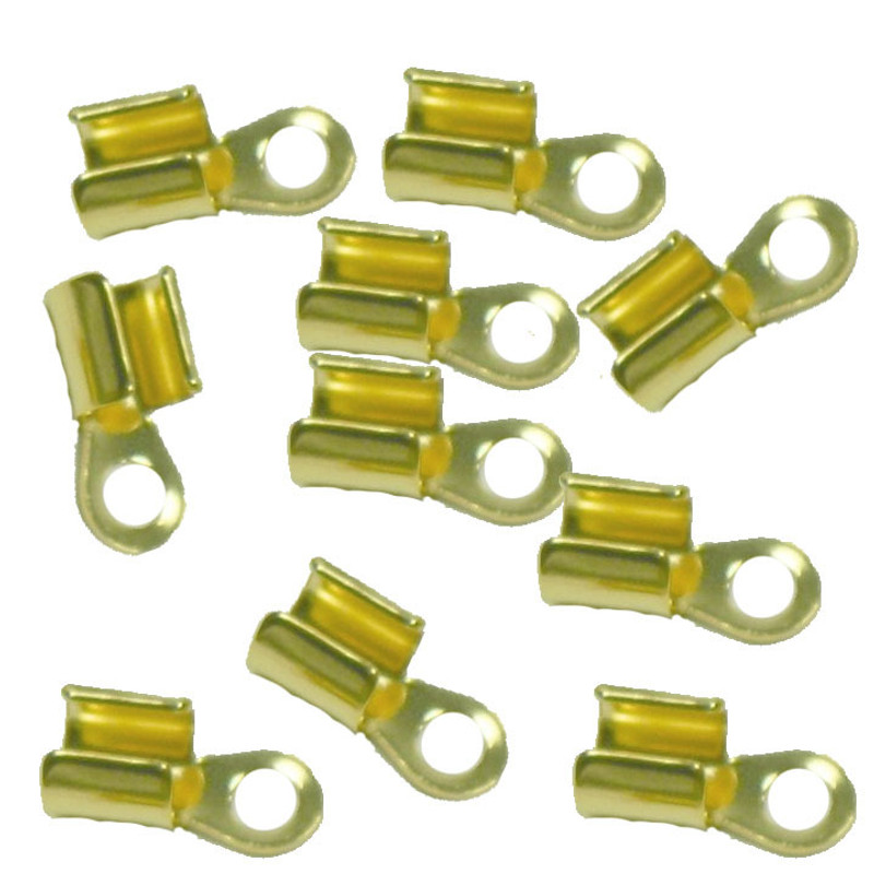 15 Gold Plated Brass Cord Tip Ends Silver-plated Brass 10x5mm 3mm to 5mm AC-080422004755-GP