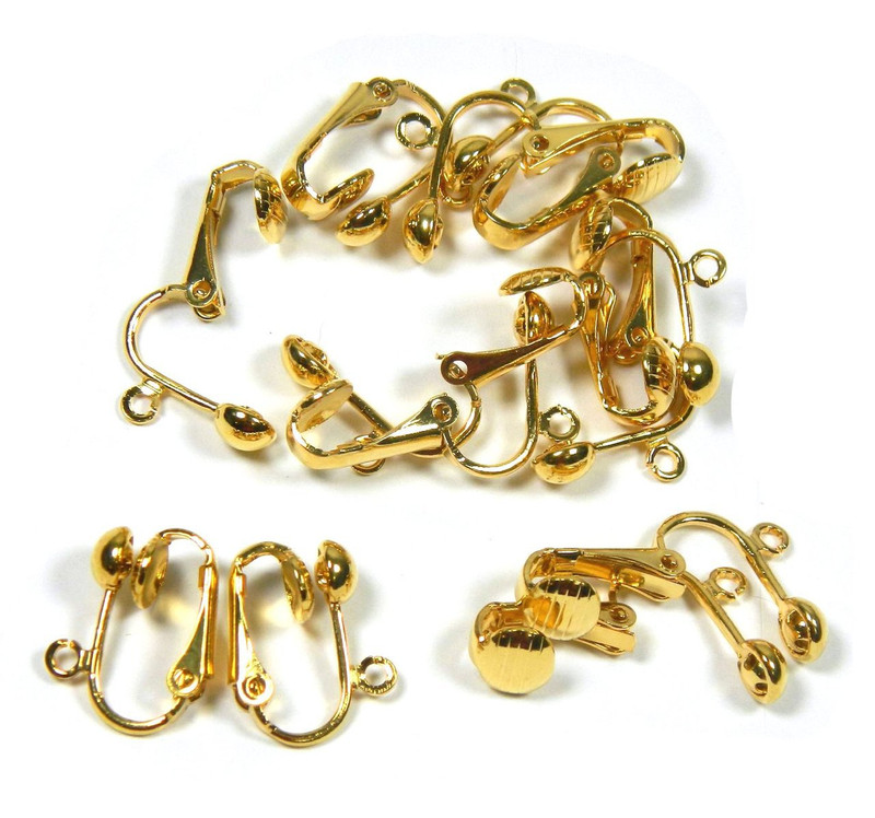 2 Pair Gold Plated Clip on Earring Findings St ard Ball Easy Open Loop for Easy Converting From Standard Ear Wires AC-8053FD