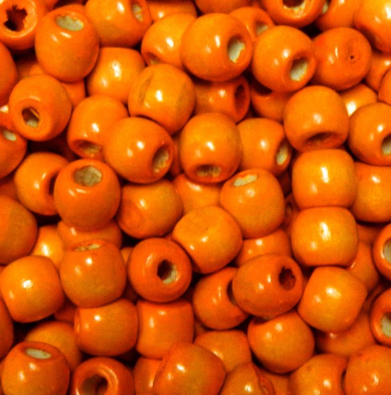 Orange 24 pack Macrame Wood Beads 11x12mm 5~6mm Hole Round Barrel PH-WOOD-Q007-12mm-04-LF