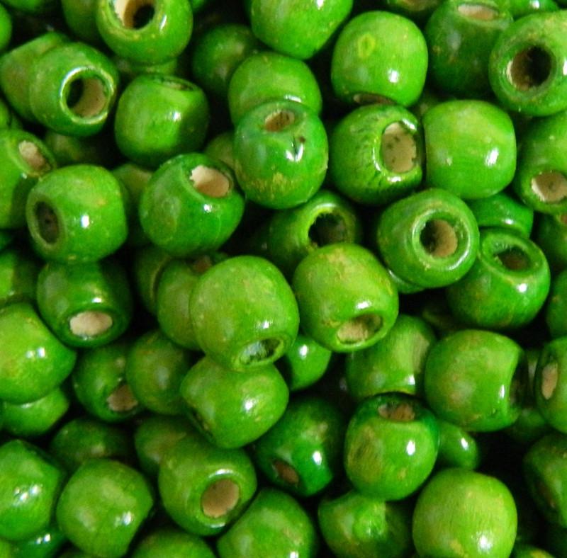 Green 24 pack Macrame Wood Beads 11x12mm 5~6mm Hole Round Barrel PH-WOOD-Q007-12mm-03-LF