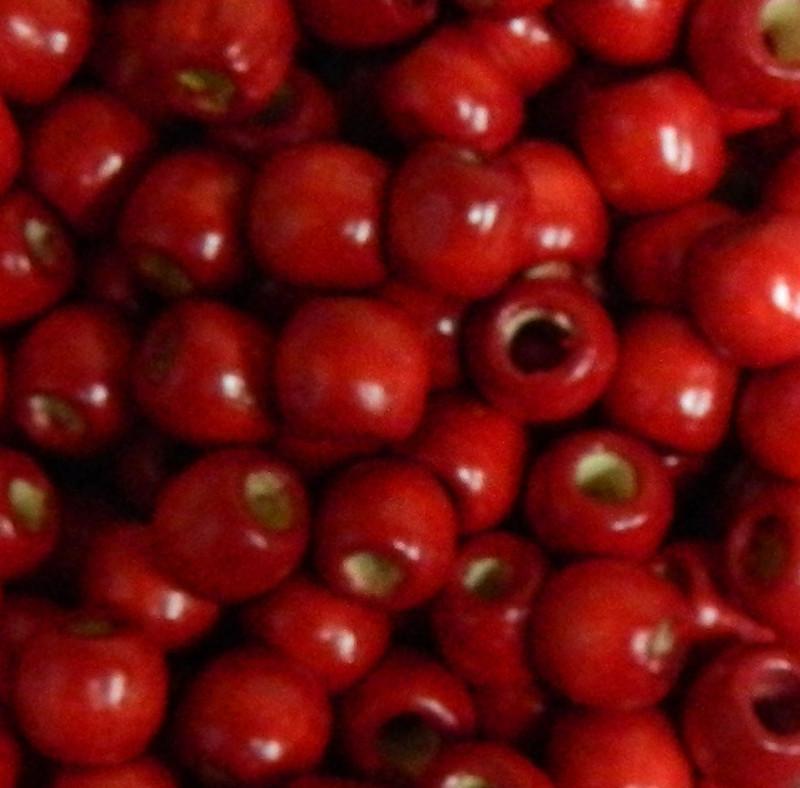 Red 24 pack Macrame Wood Beads 11x12mm 5~6mm Hole Round Barrel PH-WOOD-Q007-12mm-07-LF