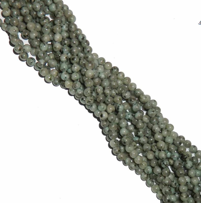 6mm Kiwi Sesame Jasper Natural Gemstone Round Beads 15 inch loose Strand B2-6A19
