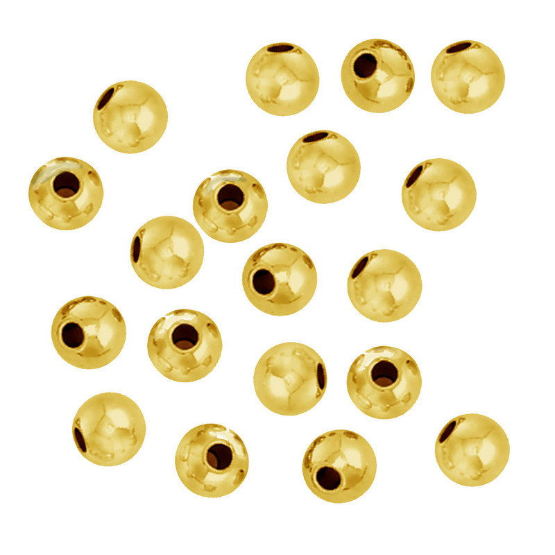 100 Gold Plated Brass Beads 5mm Round Jewelry Spacer Metal Beads Z-G-090709094043-GP