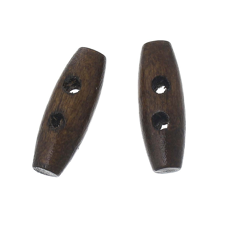100 Small Wood Toggle Buttons 3/4 x 1/4 Inch Stained Walnut RB64543