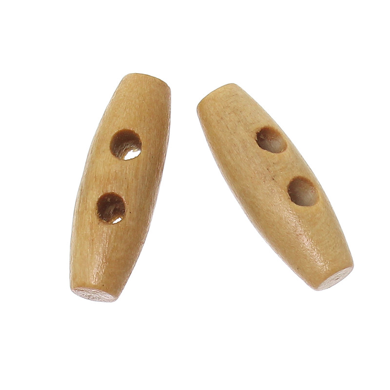 100 Small Wood Toggle Buttons 3/4 x 1/4 Inch RB64544