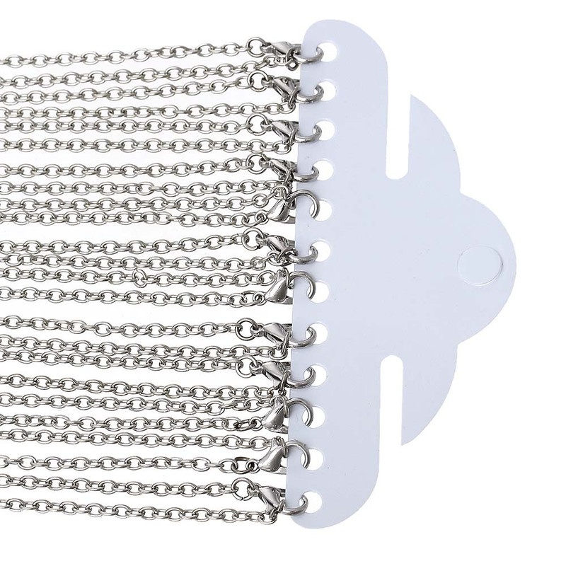 12 Pack Steel Tone Plated 2mm Cable Chain 30-3/8 Inch RB53083