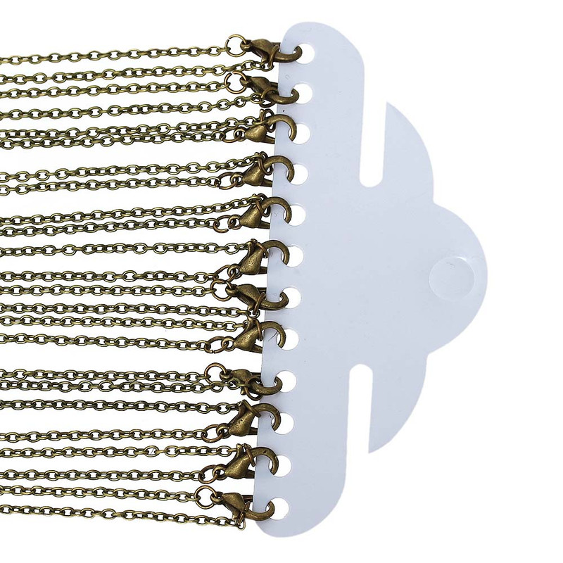 12 Pack Antique Gold Plated 2mm Oval Cable Chain Necklace 24 Inch RB53082