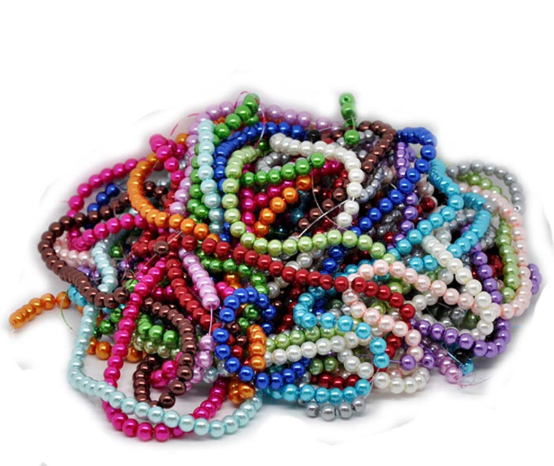 6mm Round 15 Strands 30 Inch Glass Pearl Beads Mixed Colors RB11377