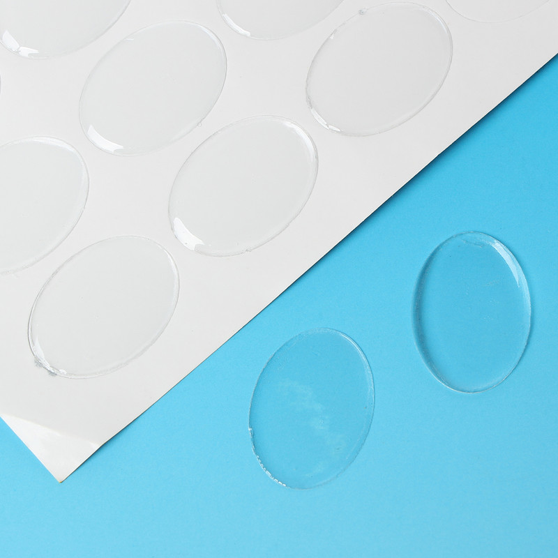 64 Clear Resin Cabochon Sticker Clear 25x18mm 1x3/4 Inch RB61865