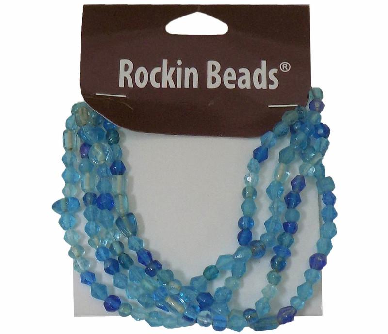 Aqua Blue  Irregular Mixed Glass Beads from India SI-26014-28874 BA783935148862