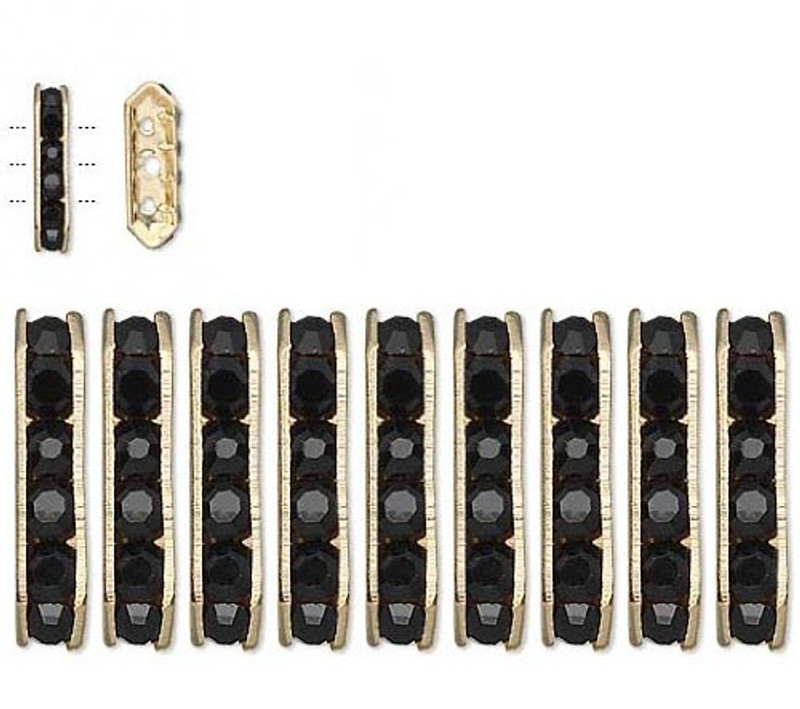 28 Gold-finished Bead 28 Brass and Rhinestone, Black, 16x5mm 3-strand Bridge Spacer. Sold Per 28
