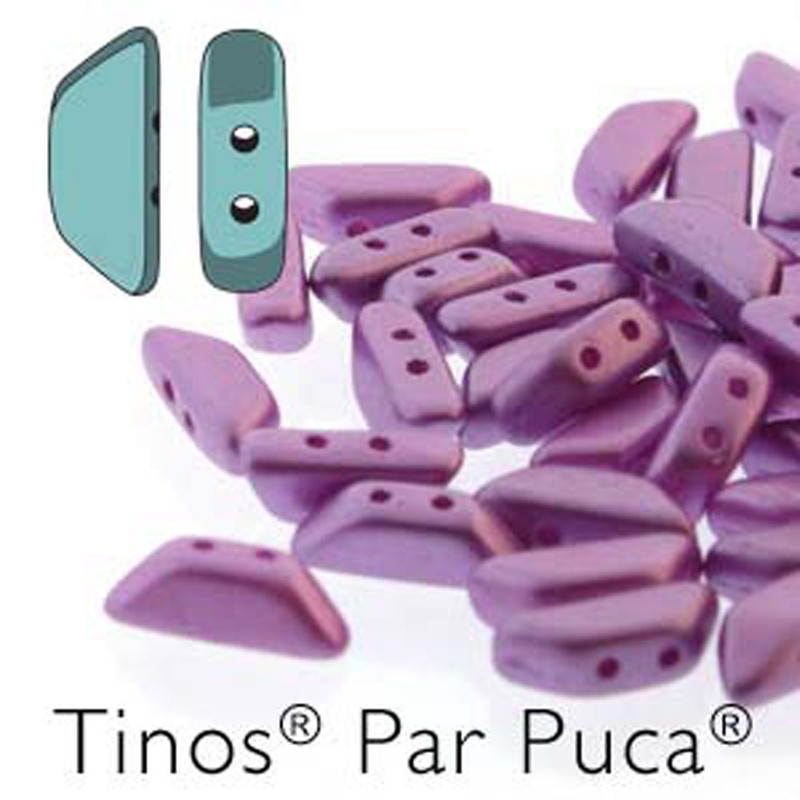 Pastel Lilac Tinos Par Puca Trapezoid 2-hole 30 Czech Glass Beads HP-TNS410-02010-25012-30PC