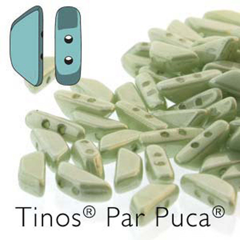Opaque Lt Green Luster Tinos Par Puca Trapezoid 2-hole 30 Glass Beads HP-TNS410-03000-14457-30PC