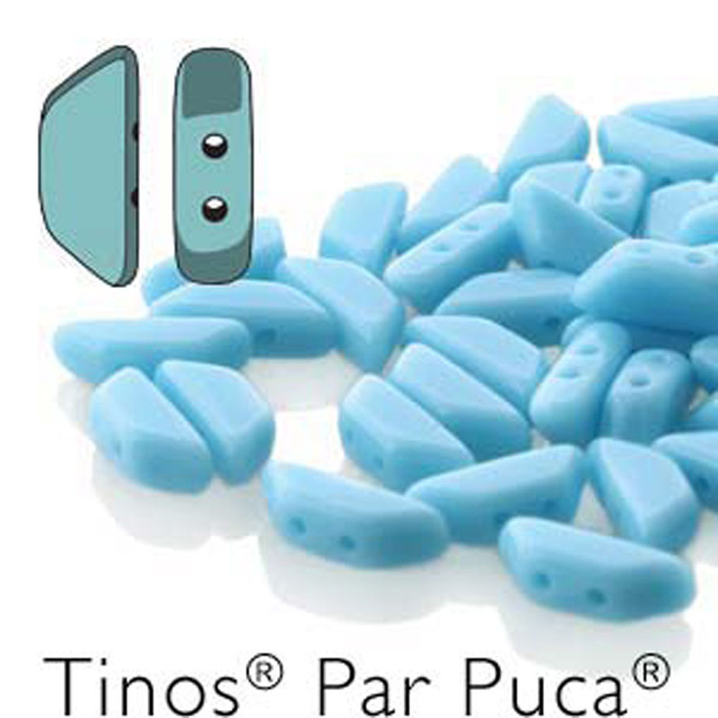 Turquoise Opaque Tinos Par Puca Trapezoid 2-hole 30 Czech Glass Beads HP-TNS410-63030-30PC