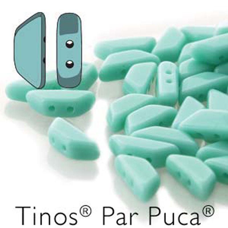 Turquoise Gr Opaque Tinos Par Puca Trapezoid 2-hole 30 Czech Glass Beads HP-TNS410-63130-30PC