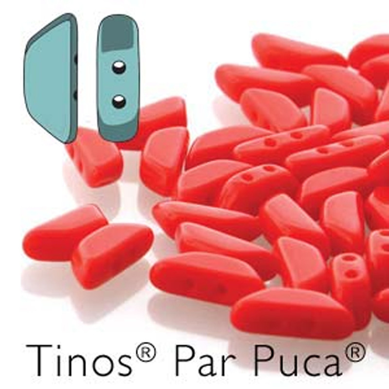 Coral Opaque Tinos Par Puca Trapezoid 2-hole 30 Czech Glass Beads HP-TNS410-93200-30PC