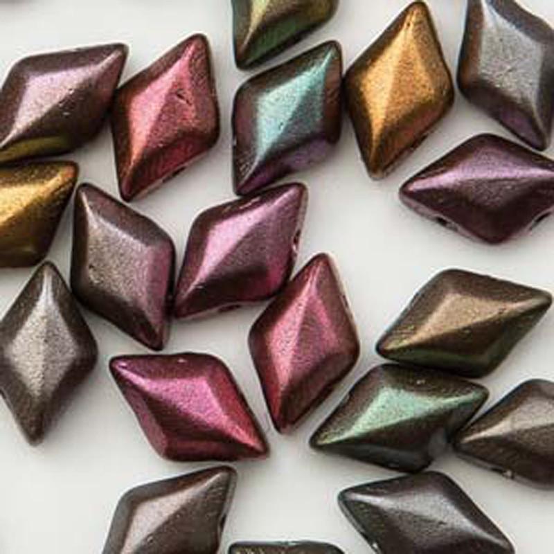 Gemduo 8x5mm Violet Rainbow 2-hole Diamond Shape Czech Glass beads