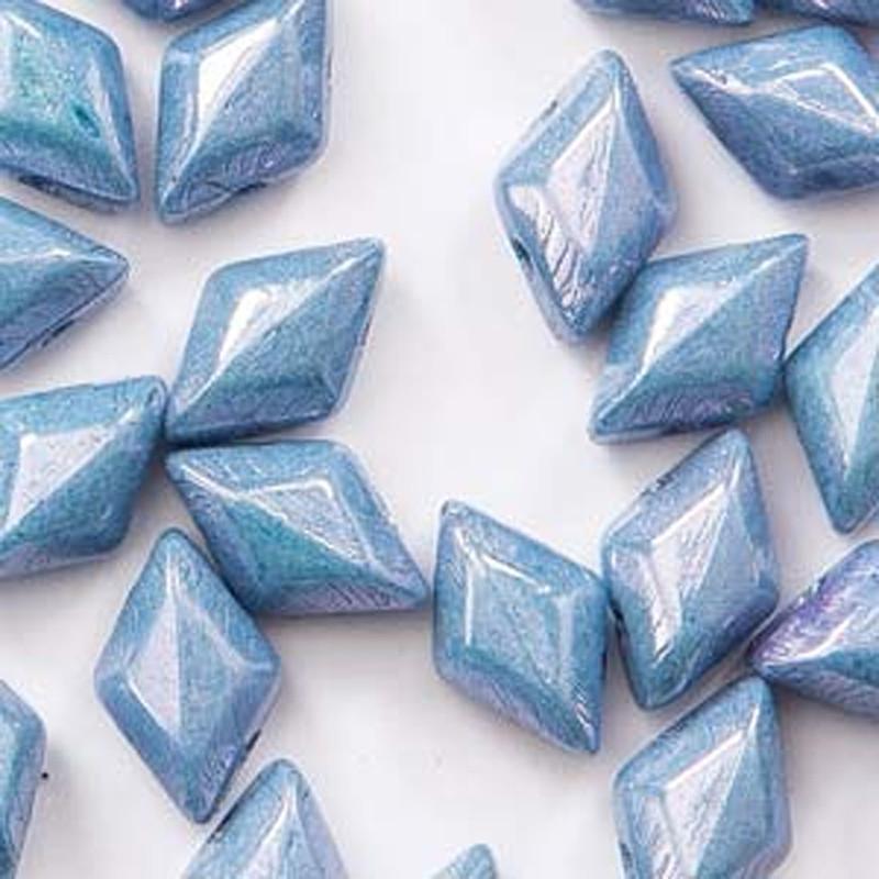 Gemduo Chalk Blue Luster 2-holes Diamond shape beads, 30 beads
