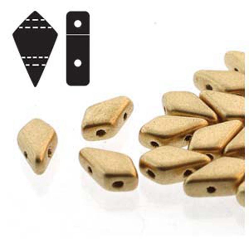 9x5mm 2-hole Kite Bead Bronze Pale Gold Czech Glass Beads