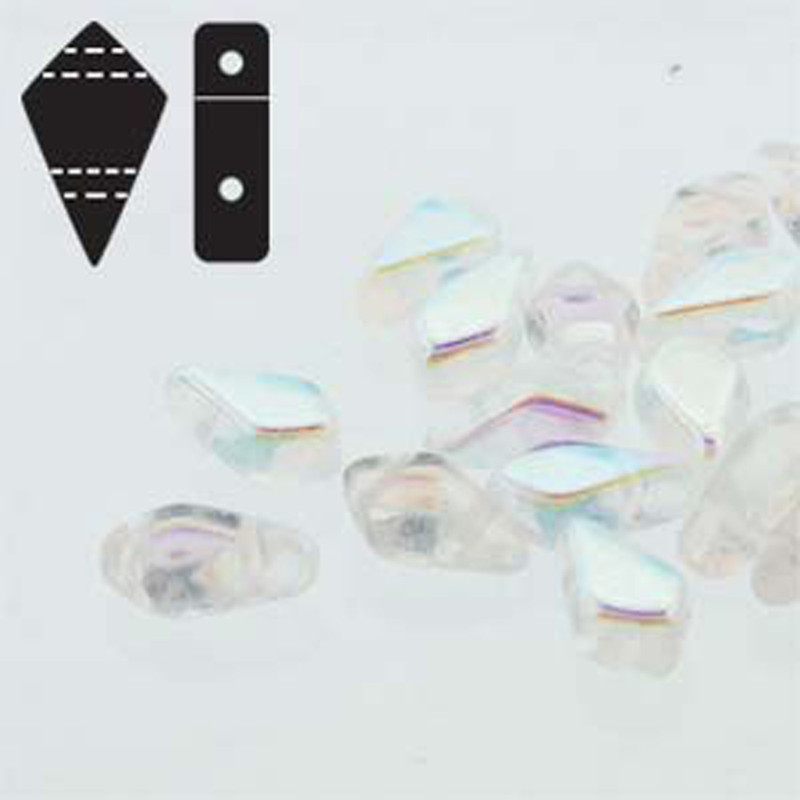 9x5mm 2-hole Kite Bead Crystal Ab Czech Glass Beads