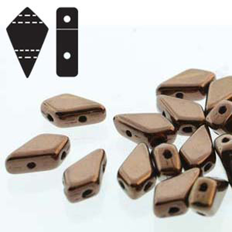 9x5mm 2-hole Kite Bead Jet Dk Bronze Czech Glass Beads