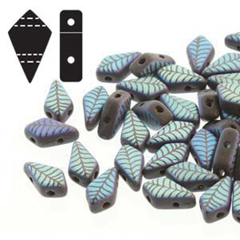 9x5mm 2-hole Kite Bd Jet Laser Leaf Matte Czech Glass Beads