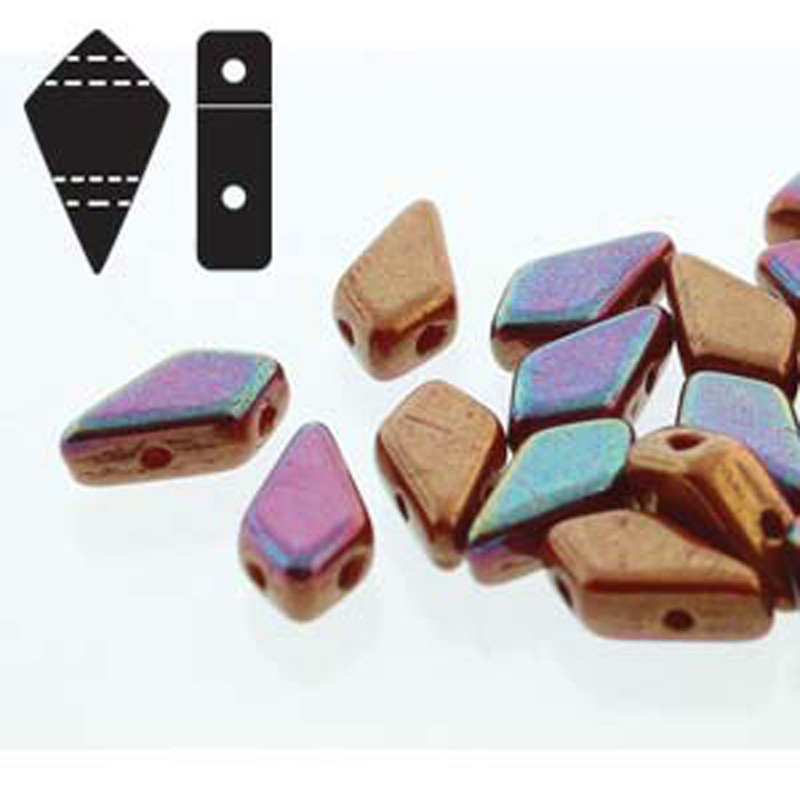 9x5mm 2-hole Kite Bead Red Iris Luster Czech Glass Beads