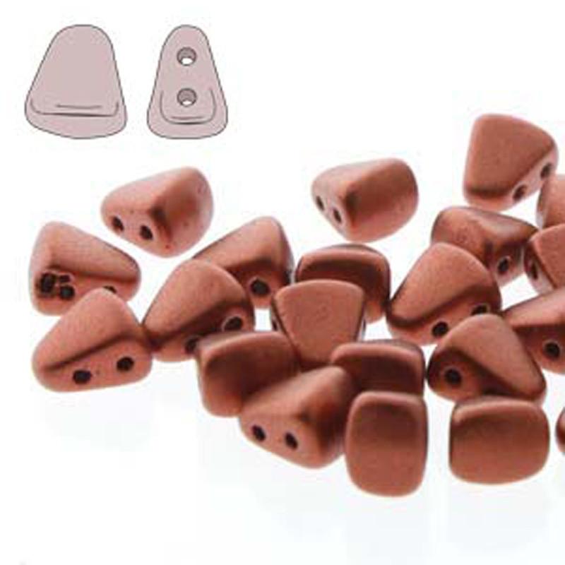 Nib-Bit 6x5mm Bronze Fire Red 30 Czech Glass 2 hole Beads NB6500030-01750