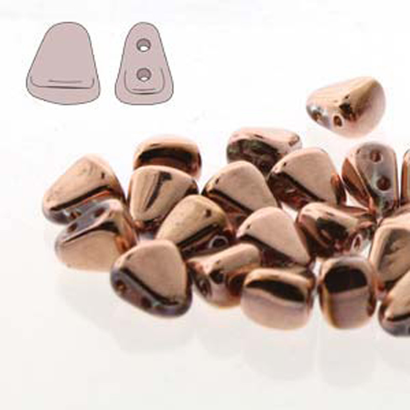 Nib-Bit 6x5mm Full Capri Gold 30 Czech Glass 2 hole Beads NB6500030-27103