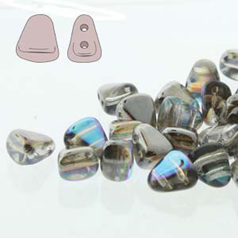 Nib-Bit 6x5mm Crystal Graphite Rainbow 30 Czech Glass 2 hole Beads NB6500030-98537