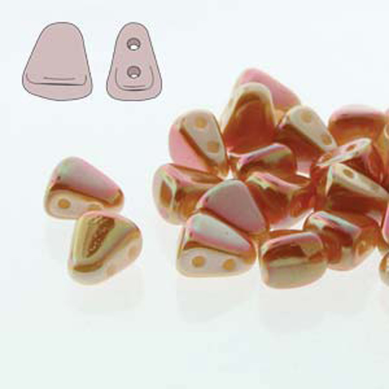 Nib-Bit 6x5mm Full Apricot 30 Czech Glass 2 hole Beads NB6503000-29123
