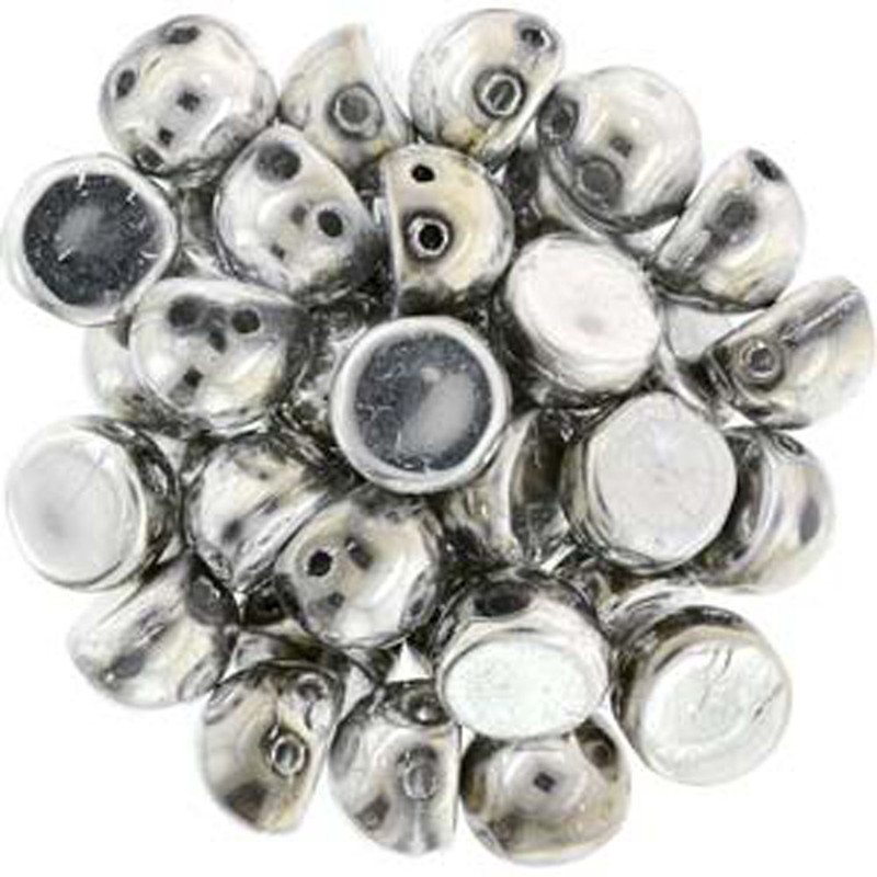 2 Hole Cabochon 7mm Silver 20 Glass Beads