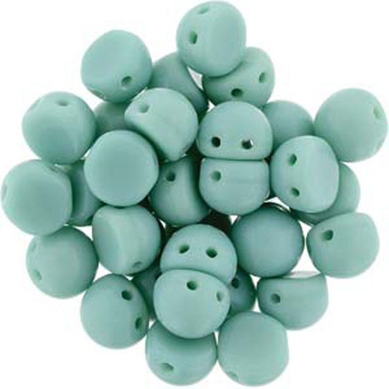 2 Hole Cabochon 7mm Opaque Turquoise 20 Glass Beads