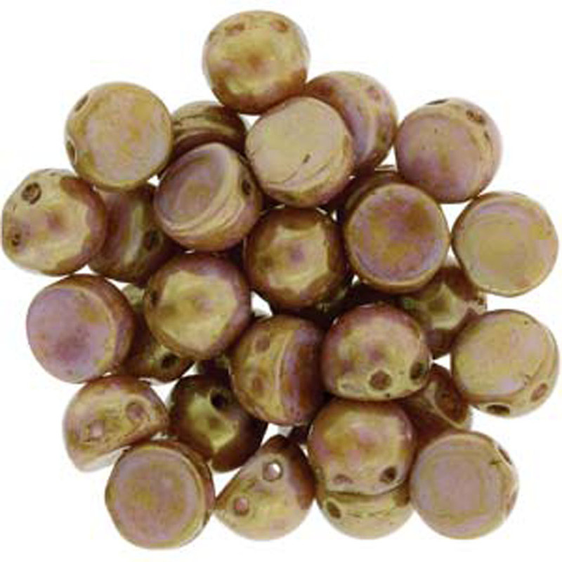 2 Hole Cabochon 7mm Luster Opaque Rose Gold 20 Glass Beads