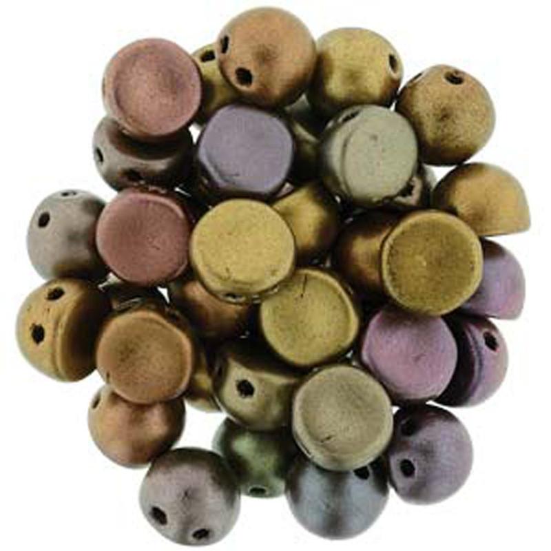 2 Hole Cabochon 7mm Matte Met Broze Iris 20 Glass Beads