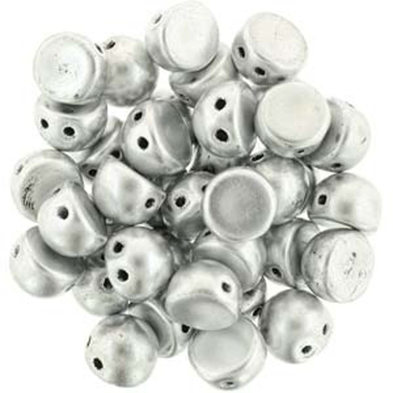 2 Hole Cabochon 7mm Matte Met Silver 20 Glass Beads