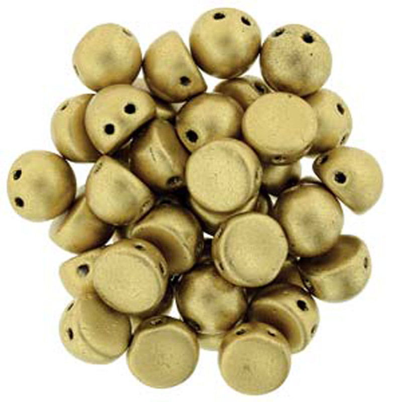 2 Hole Cabochon 7mm Matte Met Flax 20 Glass Beads